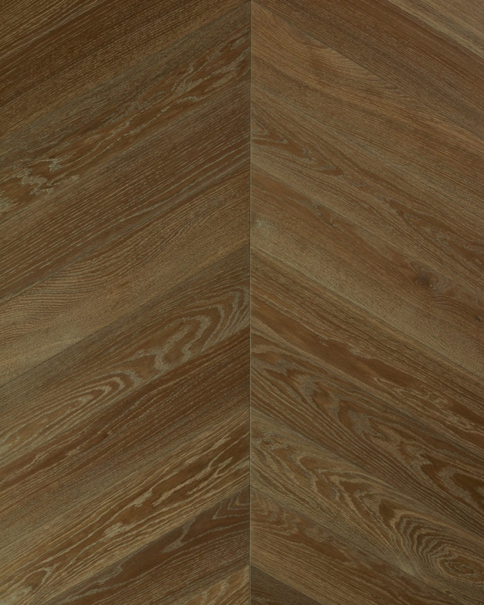 Oak chevron parquet brushed smoked oiled Authentic