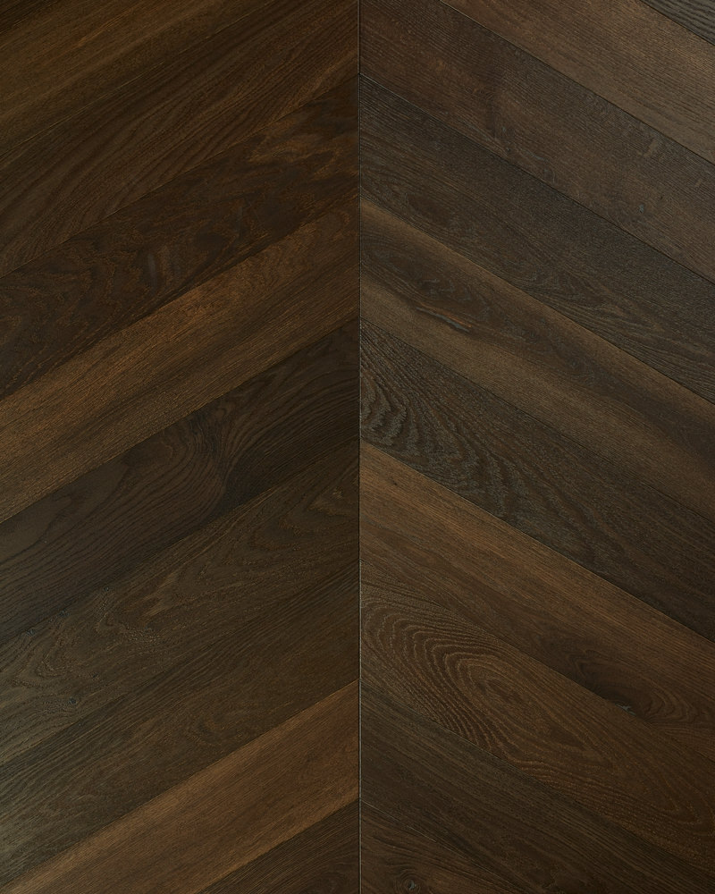 Oak chevron parquet brushed smoked oiled Deep Down Moder