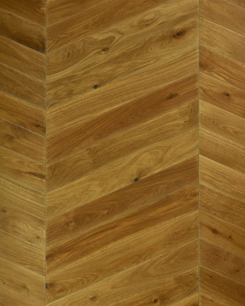 Oak chevron parquet plank sanded smoked and oiled Esta