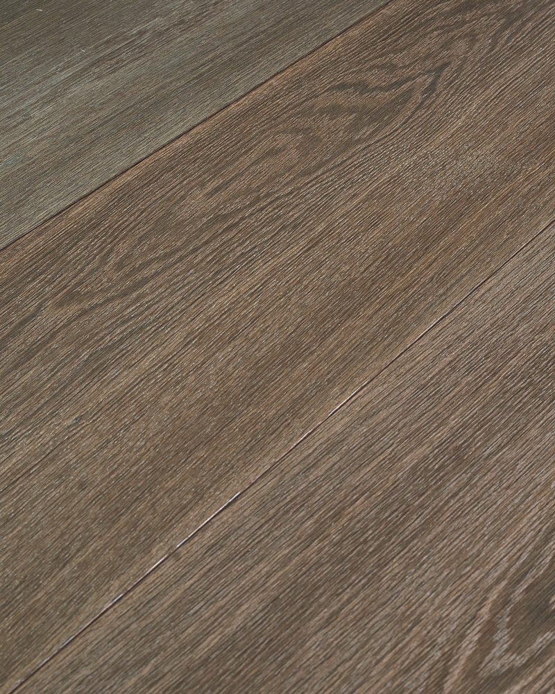 Oak semi solid extra wide plank brushed oiled smoked stained Eternal Grey