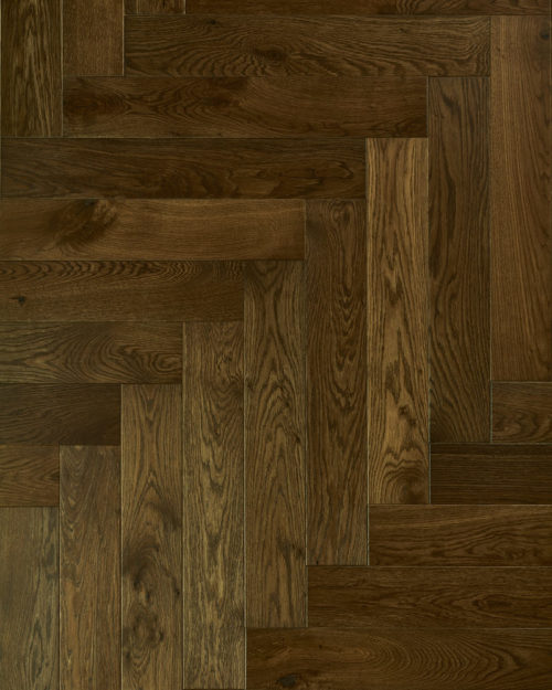Oak herringbone parquet plank brushed smoked and oiled Faetano