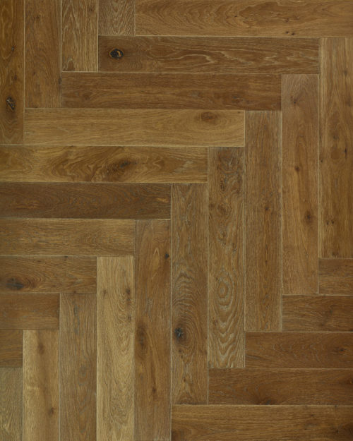Oak herringbone parquet brushed smoked oiled Fleuris