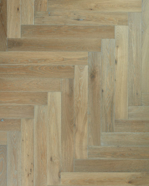 Oak herringbone parquet plank brushed smoked and oiled Griseo