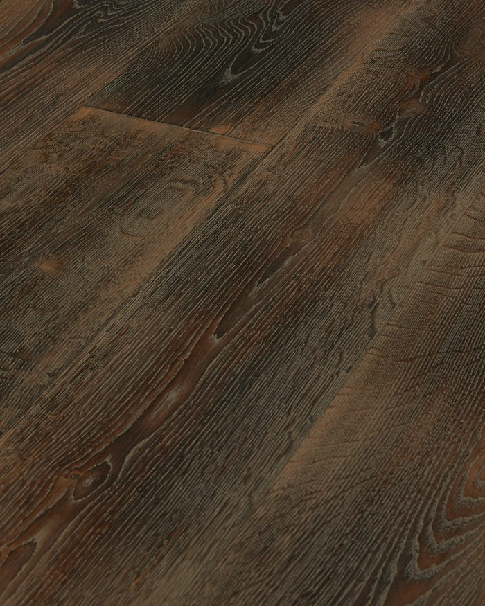 Oak super wide plank brushed smoked oiled scraped Modum