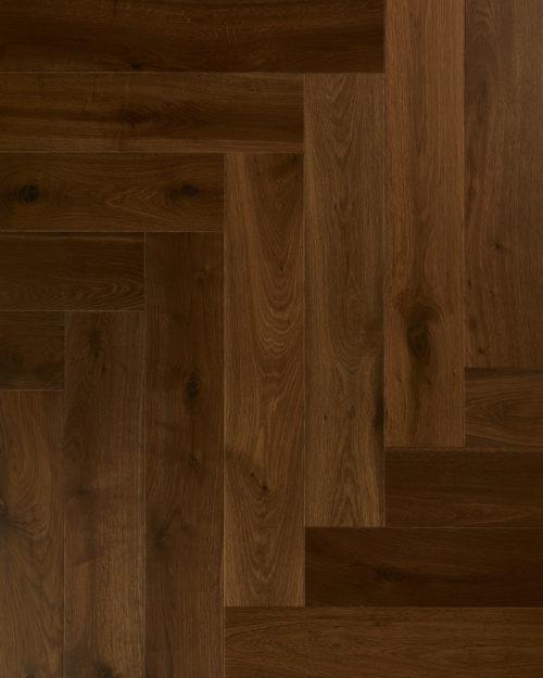 Oak herringbone parquet sanded deep smoked laquered Noatis