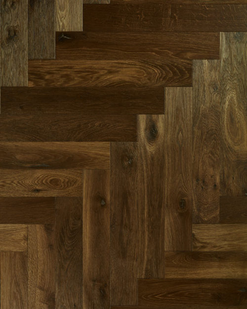 Oak herringbone parquet brushed smoked oiled Paulum