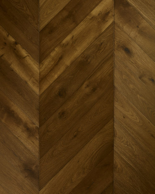 Oak chevron parquet brushed smoked and oiled Griseo