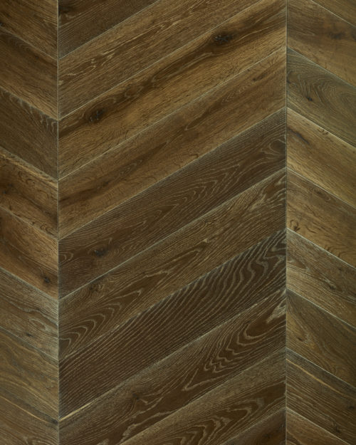 Oak chevron parquet brushed smoked and oiled Venice