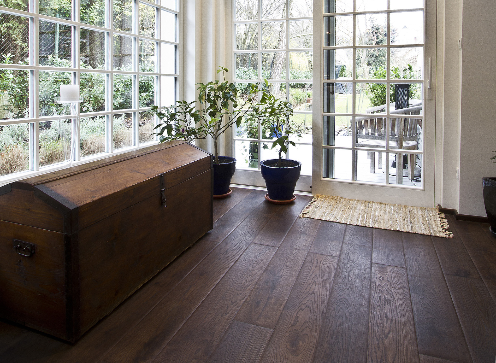 terra mater oak wide plank smoked sanded hand made bevel oiled solid construction